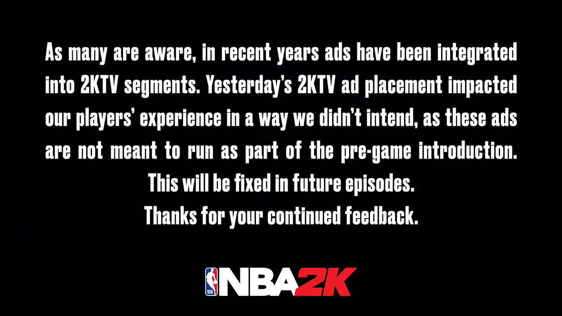 2K Responds to NBA 2K21 ads not skippable: it will be fixed in the future