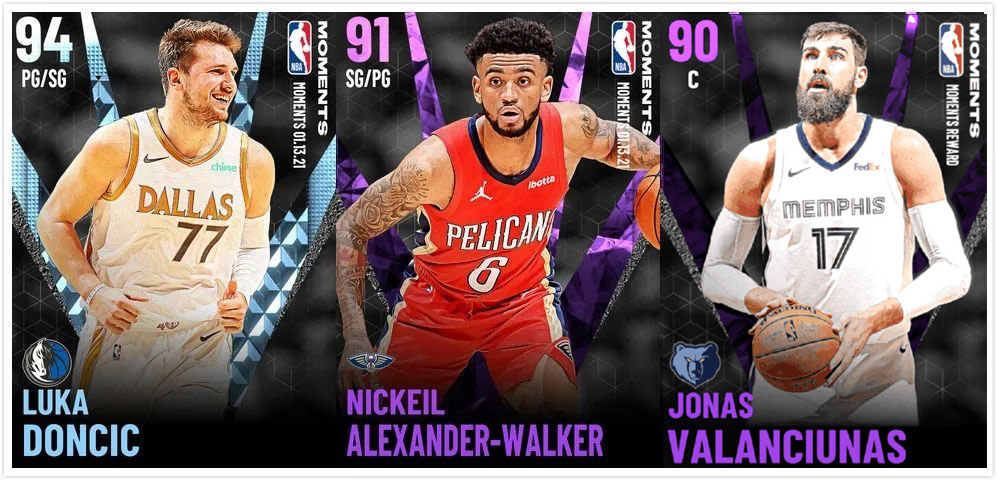 NBA 2K21 Moments Cards Lineups list, Diamond Luka Doncic player card introduction